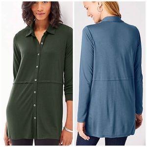 J.Jill Button Front Knit Tunic in Emerald Green
